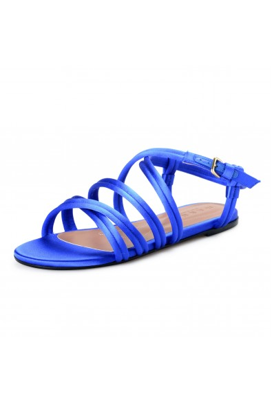 Marni Women's Blue Strappy Satin Leather Sandals Shoes