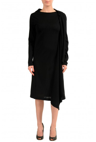 Maison Margiela 1 Women's 100% Wool Black Buttonless Cardigan Sweater
