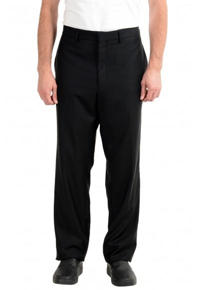Versace Men's 100% Wool Black Tuxedo Dress Pants
