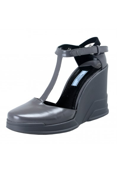 Prada Gray Leather Ankle Wedges T-Strap Sandals Shoes
