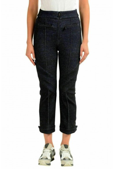 Moncler Women's Wool Dark Blue Cropped Casual Pants