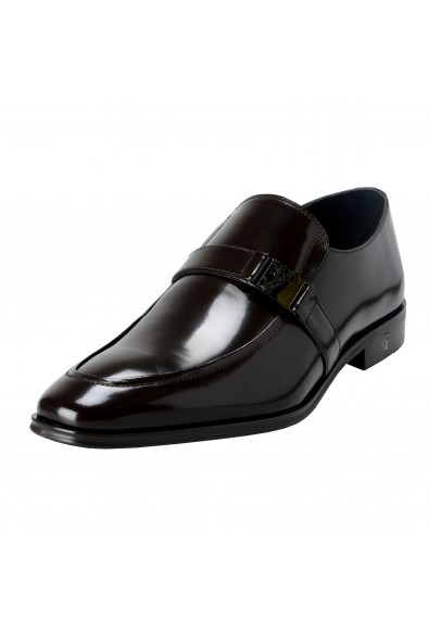 Versace Collection Men's Brown Polished Leather Loafers Shoes