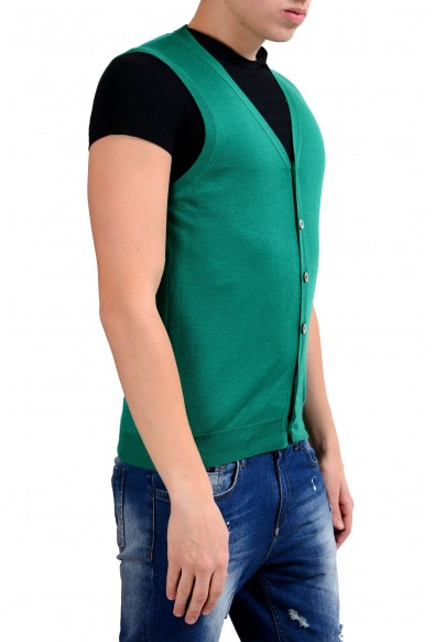 Malo Men's Green Silk Cashmere Button Up Light Knitted Vest: Picture 2