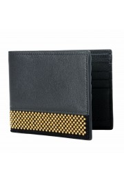 Giuseppe Zanotti Leather Black Gold Metal Beads Embellished Men's Bifold Wallet: Picture 4