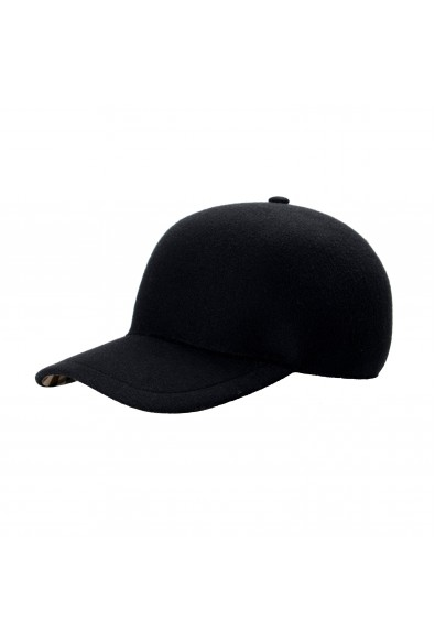 """Burberry Men's """"MOULDED""""Black Wool Cashmere Checkered Baseball Cap Hat"""