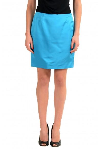 Versace 100% Silk Blue Women's Straight Skirt