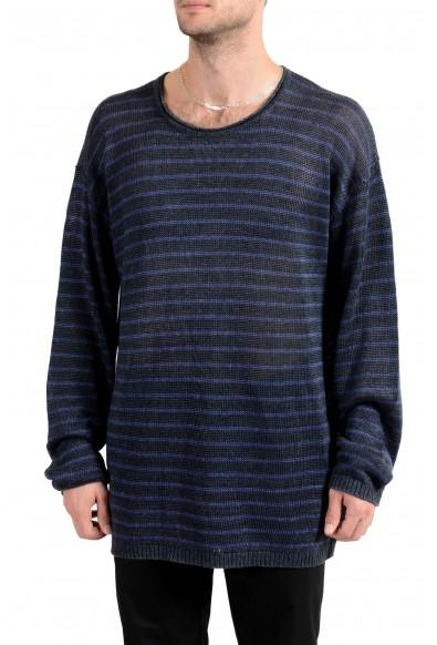 John Varvatos Star USA Men's 100% Linen Striped Crewneck Sweater