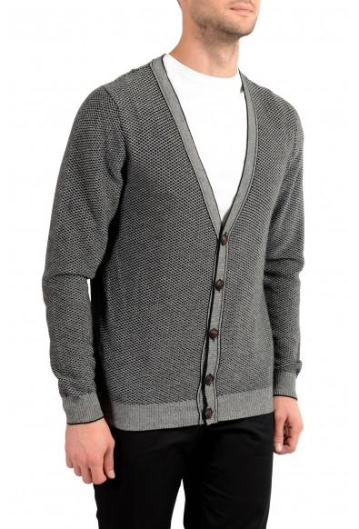Kiton Men's White & Black Silk Cashmere Cardigan Sweater: Picture 2