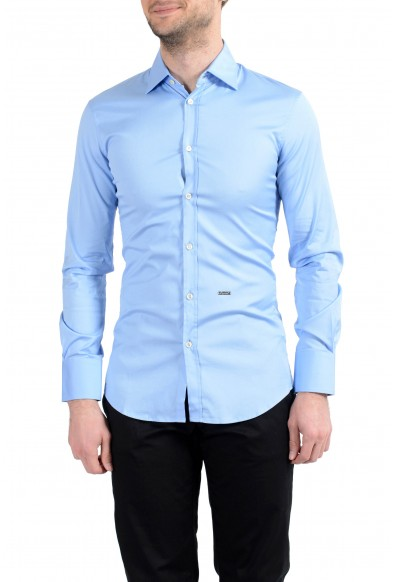 Dsquared2 Men's Blue Stretch Long Sleeve Casual Shirt