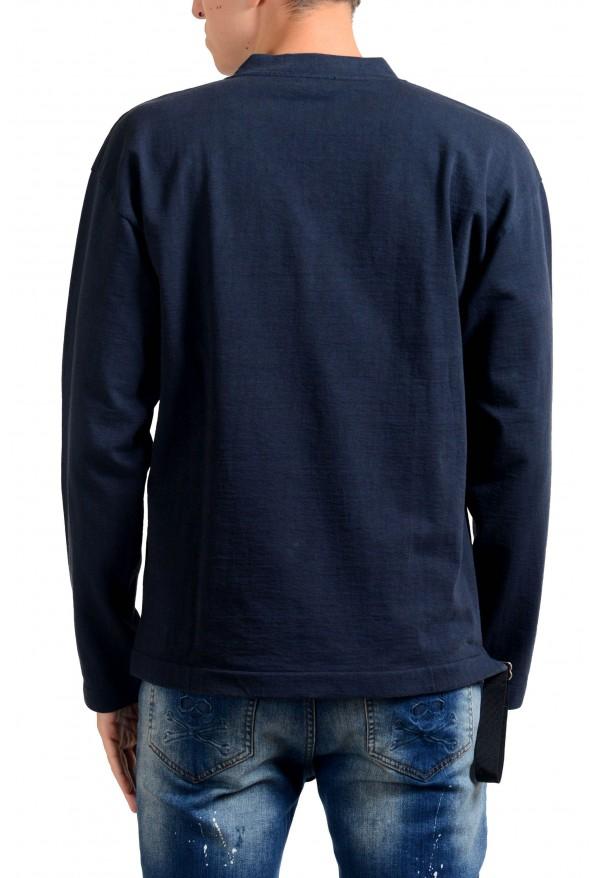 Jil Sander Men's Blue V-Neck Long Sleeve Sweatshirt: Picture 3