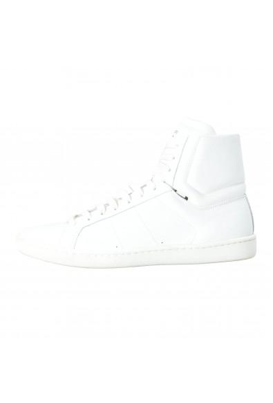 Saint Laurent Women's White Leather Hi Top Fashion Sneakers Shoes: Picture 2