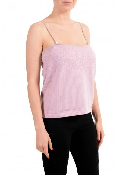 Salvatore Ferragamo Women's Wool Pink Knitted Spaghetti Strap Tank Top: Picture 2