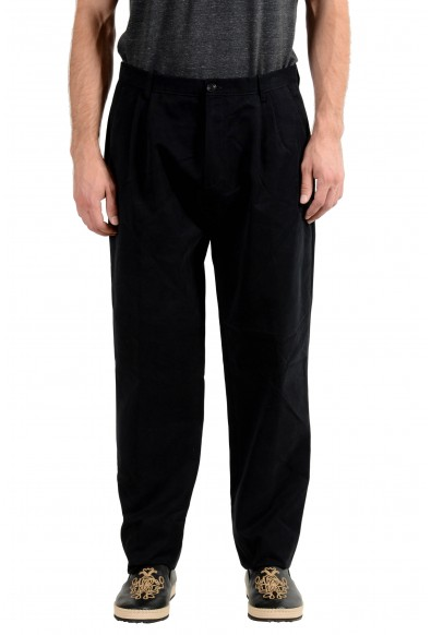 Burberry Men's Navy Blue Pleated Casual Pants