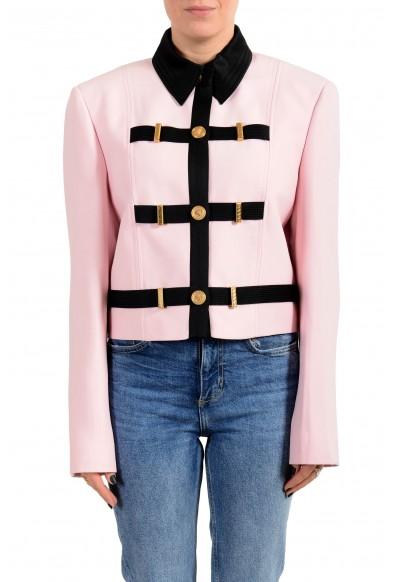 Versace Women's Pink Wool Silk Button Down Blazer Jacket