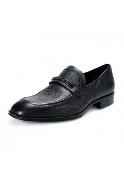 Versace Men's Black Leather Loafers Slip On Shoes