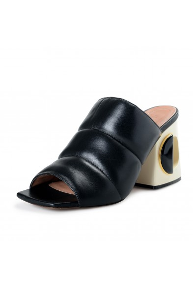 Marni Women's Black Leather High Heel Sandals Mules Shoes