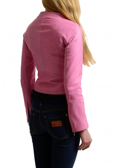 Dsquared2 100% Leather Pink Full Zip Women's Basic Jacket : Picture 2