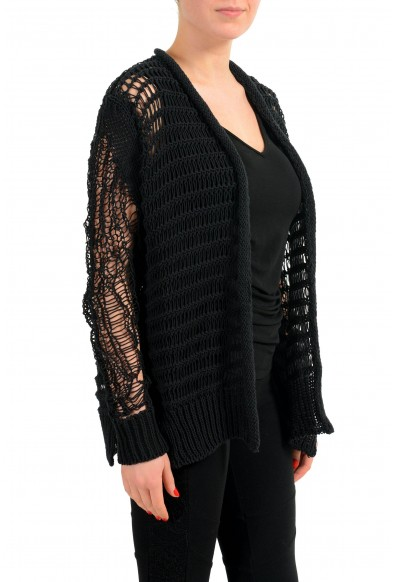 Maison Margiela 1 Black Distressed Women's Buttonless Cardigan Sweater: Picture 2