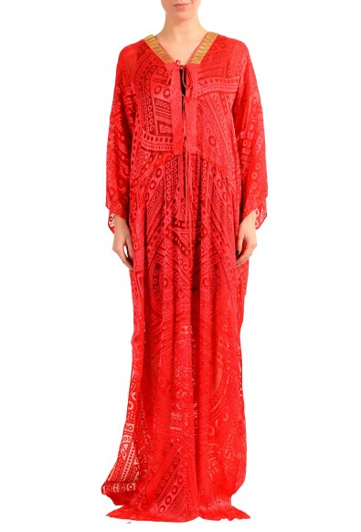 Just Cavalli Silk Red Beads Decorated Women's Maxi Dress