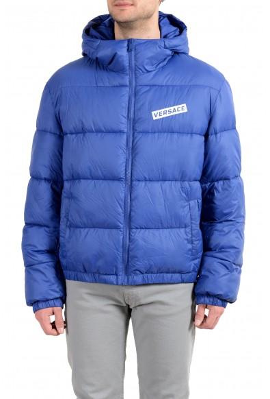 Versace Men's Blue Logo Full Zip Hooded Parka Jacket