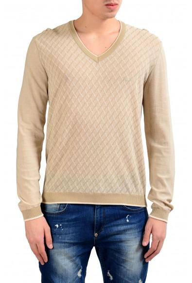 Malo Men's Jacquard V-Neck Pullover Light Sweater