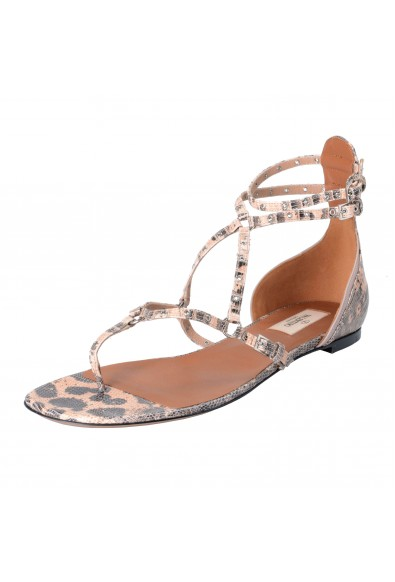 Valentino Garavani Women's Strappy Snake Skin Flat Sandals Shoes