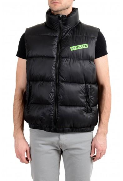 Versace Men's Black Logo Full Zip Sleeveless Parka Vest