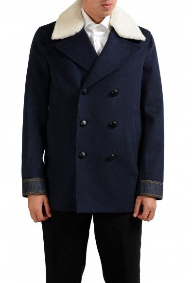 Christian Dior Men's Wool Leather Fur Blue Double Breaste Peacoat