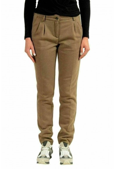 Moncler Women's Brown Skinny Pleated Casual Pants