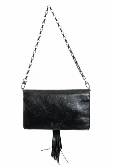 Just Cavalli 100% Leather Sparkling Black Women's Crossbody Shoulder Clutch Bag: Picture 2