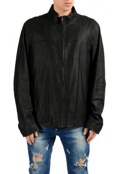 """Hugo Boss """"Dalmin"""" Men's 100% Leather Black Full Zip Jacket"""