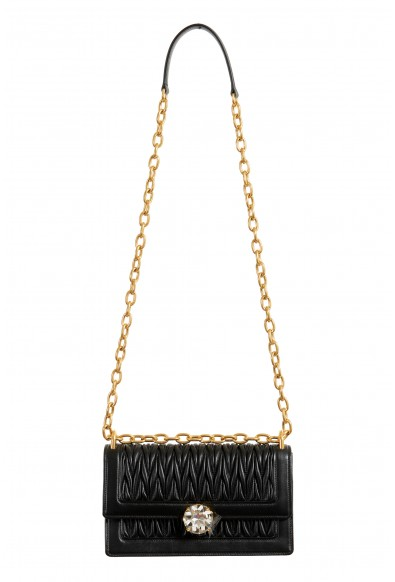 Miu Miu Women's 5BD130 Black Leather Chain Shoulder Bag