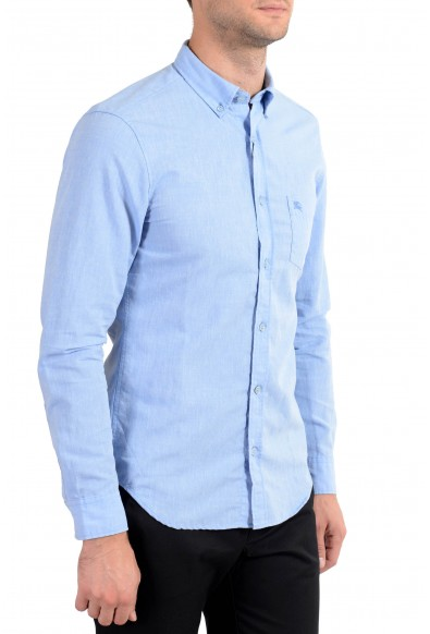 Burberry Brit Men's Blue Linen Button-Down Long Sleeve Casual Shirt: Picture 2