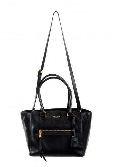 Prada Women's Black Textured Leather Shoulder Handbag Bag