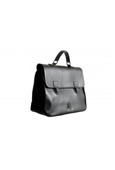 Roberto Cavalli Men's Gunmetal Tone-Logo Leather & Canvas Briefcase Bag: Picture 2