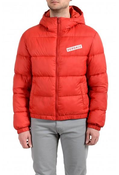 Versace Men's Red Logo Full Zip Hooded Parka Jacket