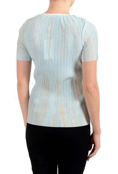"""Hugo Boss Women's """"Etrice"""" Blue Stretch Short Sleeve Blouse Top: Picture 2"""