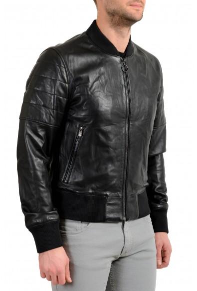 """Hugo Boss Men's """"Gipon"""" 100% Leather Black Bomber Jacket : Picture 2"""