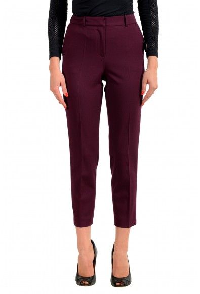 "Hugo Boss Women's ""Tavela"" Purple Wool Flat Front Dress Pants"