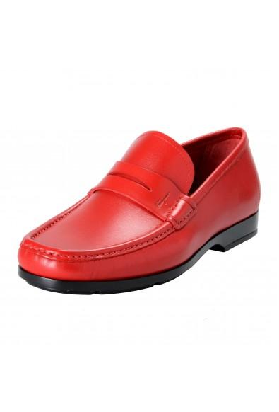 "Salvatore Ferragamo ""Gioele 1"" Men's Red Loafers Slip On Shoes"