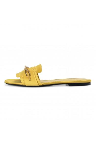 Burberry London Women's COLEFORD Antique Yellow Satin Leather Flip Flop Shoes: Picture 2