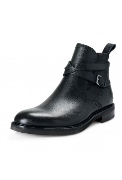 "Salvatore Ferragamo Men's ""Becker"" Black Textured Leather Ankle Boots Shoes"
