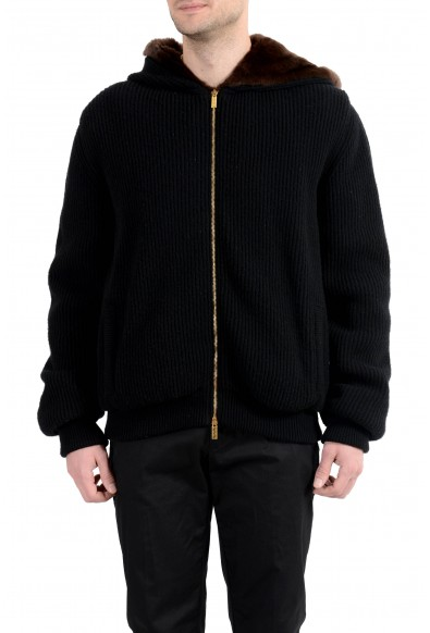 Versace Men's Wool Cashmere Rabbit Fur Zipped Hooded Knitted Jacket
