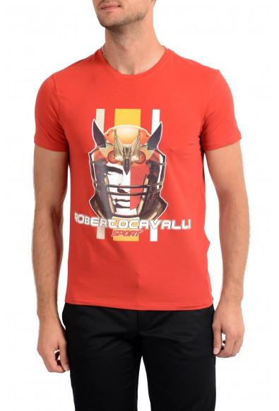 "Roberto Cavalli ""SPORT"" Men's Red Graphic Stretch T-Shirt"