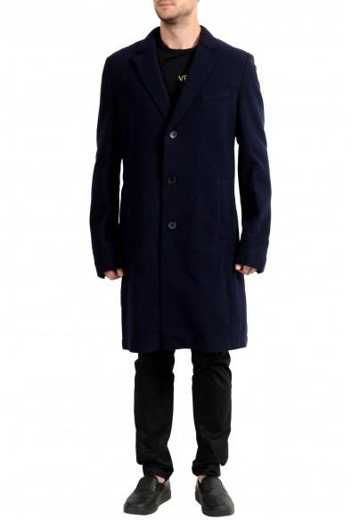 "Hugo Boss ""Shawn4_1"" Men's 100% Wool Navy Blue Three Button Coat"