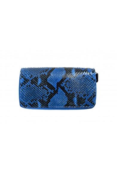 Maison Margiela Women's Blue Python Leather Zip Around Wallet