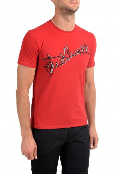 Just Cavalli Men's Red Graphic Print Crewneck Stretch T-Shirt: Picture 2