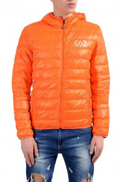 Emporio Armani EA7 Men's Orange Duck Down Full Zip Hooded Light Parka Jacket