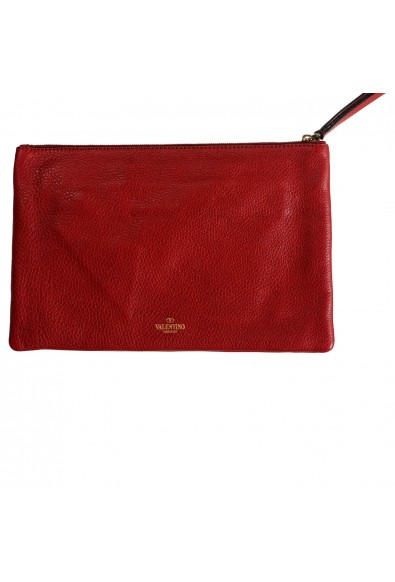 Valentino Garavani Women's Red 100% Leather Rockstud Wristlet Clutch Bag