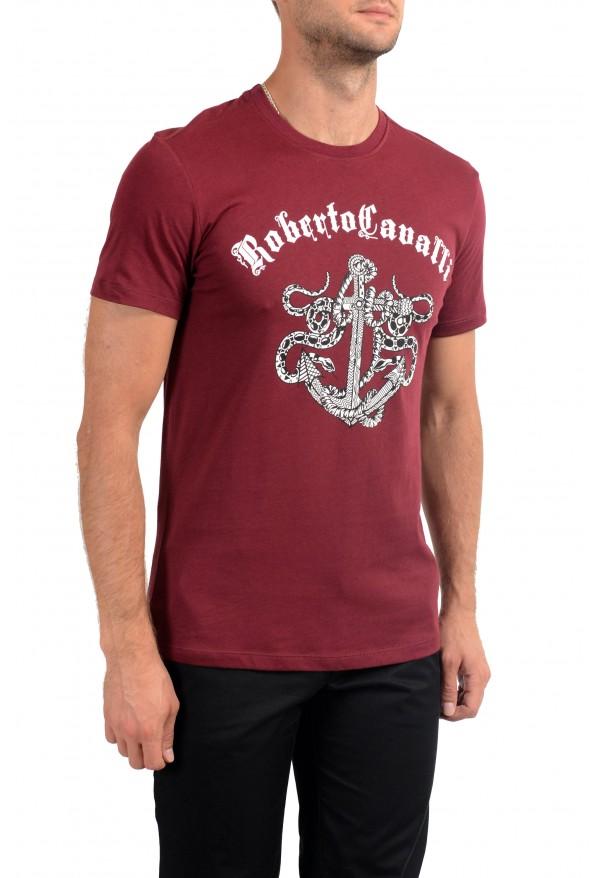 Roberto Cavalli Men's Burgundy Graphic Print Crewneck T-Shirt: Picture 3